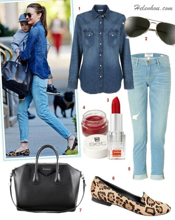 how to wear boyfriend jeans, Celebrity Mom Style,denim on denim,    On Mirand Kerr: Givenchy Antigona Satchel Bag,Prada leopard loafer, Burberry denim shirt, Frame Denim distressed boyfriend jeans, Oliver Peoples aviator sunglasses  Featured:  Gap 1969 Western Shirt - dark wash,  Ray-Ban 'Original Aviator' 58mm Sunglasses,  Napoleon Perdis 'DeVine Goddess' Lipstick,  NP Set Lip Balm ,  FRAME Denim Le Garcon Distressed Boyfriend,  Steve Madden CROQUETL leopard loafer,  Givenchy Antigona Medium Sugar Goatskin Satchel Bag