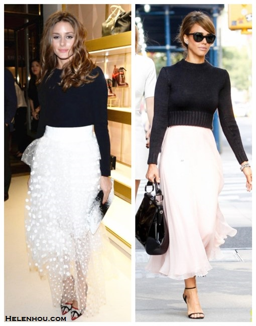 how to wear a maxi skirt, how to wear tulle skirt, how to wear a pleated skirt, how to wear a crop top,   Olivia Palermo, Jessica Alba, fashion week, street style,    On Olivia Palermo: Chloé Polka-dot layered tulle skirt,Christian Dior colorblock black and white clutch, Manolo Blahnik bb pump, black sweater;    On Jessica Alba: Ralph Lauren black crop sweater, Ralph Lauren pink maxi skirt, Ralph Lauren patent leather bag, Ralph Lauren cat eye sunglasses, Ralph Lauren Bliesta Calfskin ankle strap Sandal, Ralph Lauren watch,
