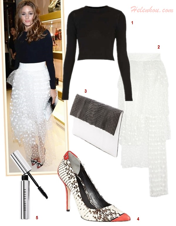 how to wear a maxi skirt, how to wear tulle skirt, how to wear a pleated skirt, how to wear a crop top,   Olivia Palermo, Jessica Alba, fashion week, street style,    On Olivia Palermo: Chloé Polka-dot layered tulle skirt,Christian Dior colorblock black and white clutch, Manolo Blahnik bb pump, black sweater;  Featured:  1. Topshop Knitted Funnel Cropped Top, 2. Chloé Polka-dot layered tulle skirt, 3. PrimaryFold Over Python Clutch, 4. Rachel Roy Black white multi/red/black pump, 5. Bobbi Brown 'Smokey Eye' Mascara