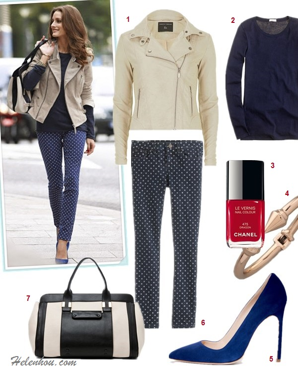 how to wear a military jacket/biker jacket, how to wear color skinny jeans/printed pants, olivia palermo, street style, fall/winter,  On Olivia Palermo: khaki biker jacket, blue polka dot jeans, blue suede pump, navy t shirt, Chloe Alice Springs colorblock Handbag,   featured:  Dorothy Perkins Neutral tab collar biker jacket,  J.CrewTissue long-sleeve tee,  Chanel LE VERNIS NAIL COLOUR in Dragon,  Vita Fede Titan Bracelet,  Manolo Blahni BB Suede Point-Toe Pumps,  J.Crew Toothpick jean in polka dot, Chloe Alice Springs Large Handbag in Prints,