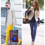 Military Chic: Khaki Jacket & Colored Jeans