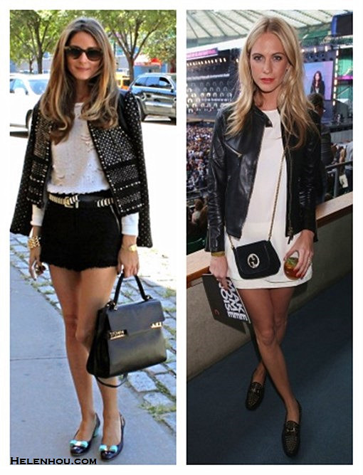 how to transform summer wardrobe into fall,how to wear a leather jacket,how to style tweed,  Poppy Delevingne, olivia palermo, street style, fashion week,  On Poppy Delevingne,Gucci Leather Biker Jacket, Gucci White Satin Sleeveless Top, Gucci White Jacquard Mini Skirt,Gucci 1953 Horsebit Studded Loafers, Gucci 1973 Suede Shoulder Bag,  on Olivia palermo: Rebecca Taylor jacket, Rebecca Taylor black tweed shorts, Ray Ban sunglasses, Witchery white embellished shirt, Zara metallic belt, Salvatore ferragamo Vara Low Pumps, Delvaux Tempête MM,