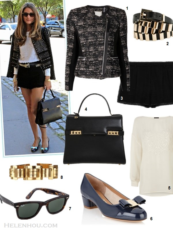 how to transform summer wardrobe into fall,how to wear a leather jacket,how to style tweed,  Poppy Delevingne, olivia palermo, street style, fashion week,  on Olivia palermo: Rebecca Taylor jacket, Rebecca Taylor black tweed shorts, Ray Ban sunglasses, Witchery white embellished shirt, Zara metallic belt, Salvatore ferragamo Vara Low Pumps, Delvaux Tempête MM; Featured:  Rebecca Taylor Boucle & Leather Jacket,  Mango gold skinny belt,  DOLCE & GABBANA black tweed shorts,  Delvaux Tempête MM bag ,   FRONT SLOUCHY TOP, Salvatore Ferragamo vara,  Ray-Ban Original Unisex Wayfarer Sunglasses,  OLIVIA COLLINGS 1940s vintage 18-karat gold linked bracelet,