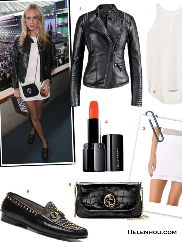how to transform summer wardrobe into fall,how to wear a leather jacket,how to style tweed,  Poppy Delevingne, olivia palermo, street style, fashion week,  On Poppy Delevingne,Gucci Leather Biker Jacket, Gucci White Satin Sleeveless Top, Gucci White Jacquard Mini Skirt,Gucci 1953 Horsebit Studded Loafers, Gucci 1973 Suede Shoulder Bag,  Featured:  Bernardo Asymmetrical Leather Moto Jacket,  3.1 Phillip Lim Overlapped Side Seam Tank,  Illamasqua Lipstick,  Gucci gucci 1973 black crocodile chain shoulder bag ,  Gucci 1953 horsebit loafer,