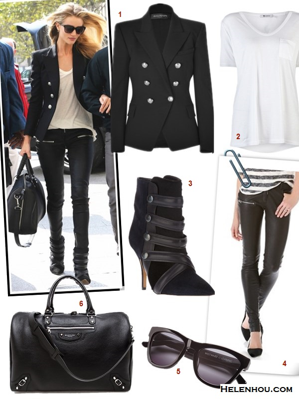 The art of accessorizing-Rosie Huntington,street style, balmain black blazer, leather pants, Isabel Marant booties,Balenciaga