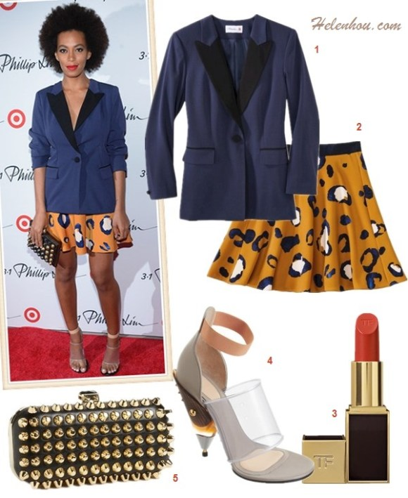The art of accessorizing-Solange Knowles, 3.1 Phillip Lim for Target tuxedo jacket, print skirt, studded clutch, Givenchy Gradient