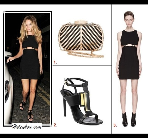 how to wear cut outs; how to style a black dress;  fashion week, street style, black dress, gold belt, tassle bag, leopard sneaker;  Rosie Huntington-Whiteley,VERSUS Black Cut Out Dress,Saint Laurent gold embellished Janis Sandal,  On Rosie Huntington-Whiteley at AnOther Magazine's LFW   Party:VERSUS Black gold-buttoned Cut Out Dress, Saint   Laurent Janis Metal-Front Suede Sandal, metallic clutch. Featured:  1. Bebe Striped Metal Frame Minaudiere,  2. Saint Laurent 'Janis Metal' Sandal ,  3. Versus Black Gold_buttoned Cut Out Dress,