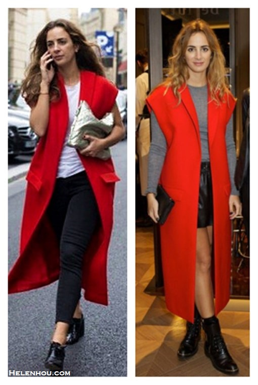 The art of accessorizing-Alexia Niedzielski,oxford, combat boots, leather shorts, metallic clutch, red sleeveless coat