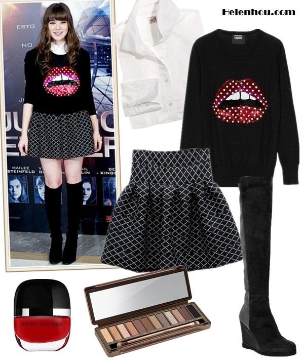 The art of accessorizing-Hailee Steinfeld,Markus Lupfer Lips sweater, skater skirt, Stuart Weitzman  boots