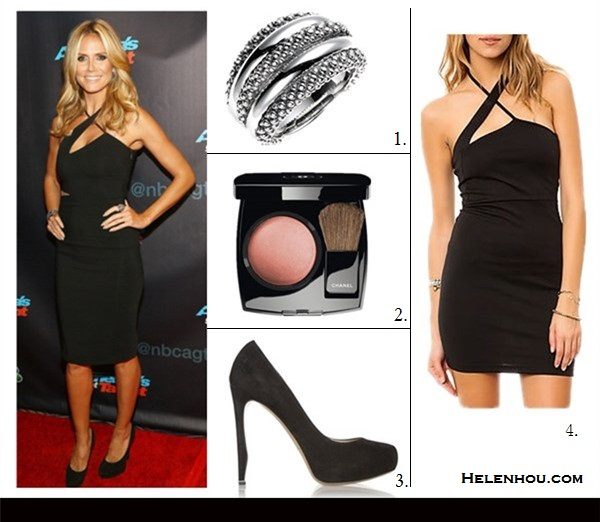 how to wear cutout, little black dress,2013 party outfit   ideas,   Miranda Kerr, Heidi Klum, black cut out  halter neck dress, party outfit, black pump, night out wear,Lanvin, Versace,Jimmy Choo, On Heidi Klum: black Versace String Cut Out Dress, Jimmy   Choo Cosmic suede pumps,Jimmy Choo Cosmic suede   pumps,cocktail ring, diamond bracelet, Featured: Lagos cAVIAR DOME RING,  Chanel JOUES CONTRASTE POWDER BLUSH,  Nicholas Kirkwood suede pump ,  *MKL Collective Women's The String Cut Out Dress in Black, Dresses