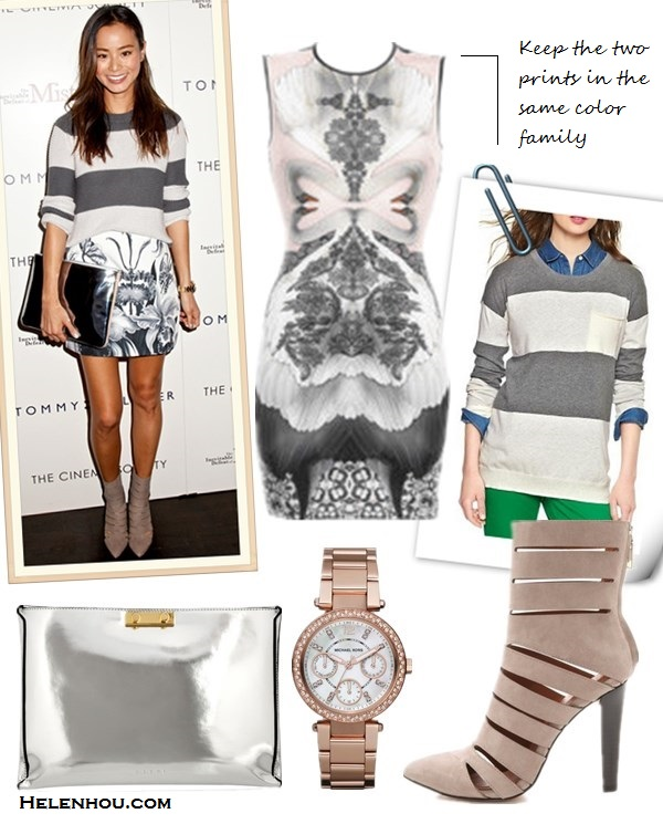 The art of accessorizing-Jamie Chung,striped sweater, printed skirt, Rebecca Minkoff CUTOUT BOOTIES,  silver mirrored clutch