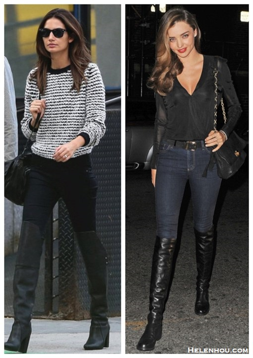 how to wear knee high or over the knee boots,  Lily Aldridge, Miranda Kerr, fall/winter, street style, striped sweater, skinny jeans, ISABEL MARANT, 3.1 Phillip Lim,balmain, nobody jeans, black blouse,Stuart Weitzman boots, lavin bag,   On Lily Aldridge: ISABEL MARANT ÉTOILE Canelia stripe sweater,Proenza Schouler 'PS1′ large shoulder bag,3.1 Phillip Lim Ora Over-the-Knee Boot, black skinny jeans, Ray-Ban Two Tone Clubmaster Sunglasses,  On Miranda Kerr: Lanvin black quilted chain bag, NOBODY Deep navy Cult Skinny Jeans,Balmain black leather belt, Stuart Weitzman 50/50 knee high Boot,