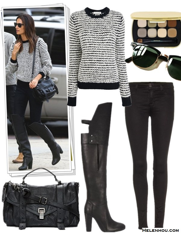 how to wear knee high or over the knee boots,  Lily Aldridge, Miranda Kerr, fall/winter, street style,   striped sweater, skinny jeans, ISABEL MARANT, 3.1 Phillip   Lim,balmain, nobody jeans, black blouse,Stuart Weitzman   boots, lavin bag,   On Lily Aldridge: ISABEL MARANT ÉTOILE Canelia stripe   sweater,Proenza Schouler 'PS1′ large shoulder bag,3.1   Phillip Lim Ora Over-the-Knee Boot, black skinny jeans,   Ray-Ban Two Tone Clubmaster Sunglasses,   Featured:  Étoile Isabel MarantETOILE ISABEL MARANT CANELIA KNIT IN BLACK,  3.1 Phillip Lim ORA RUNWAY OVER-THE-KNEE BUCKLE-BACK BOOT,   Proenza SchoulerPROENZA SCHOULER PS1 MESSENGER BAG,  Ray-Ban Oversized Two Tone Clubmaster Sunglasses,  bare Minerals READY™ 8.0 Power Neutrals