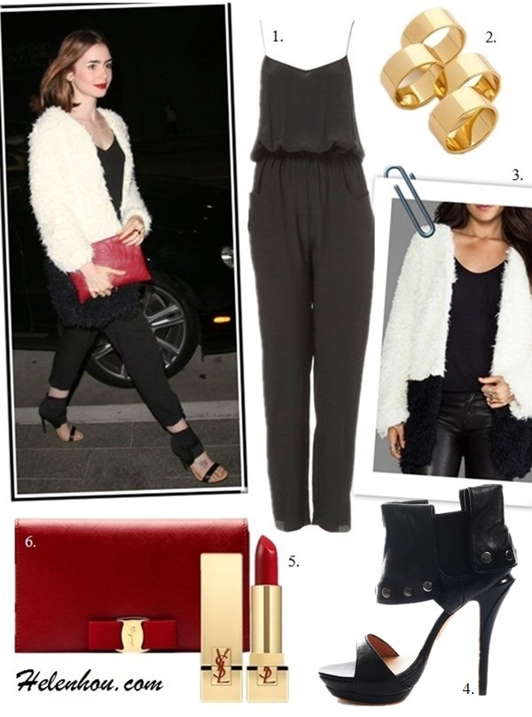 The art of accessorizing-Lily Collins, white fur coat, topshop jumpsuit, red clutch, ankle strap heel
