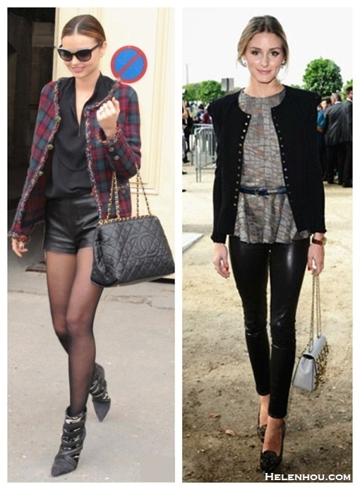 how to wear leather pants/shorts,tartan trend, how to wear camouflage, how to wear plaid/check,  Miranda Kerr, Olivia Palermo, paris fashion week, Chanel fashion show, street sytle, front row,   On Miranda Kerr: Chanel plaid jacket, Chanel sunglasses, Chanel quilted chain bag, Maison Martin Margiela leather shorts, Isabel Marant 'Tacy' low boots,   On Olivia Palermo at Elie Saab fashion show: Nina Ricci separate black peplum jacket,Gianvito Rossi Camouflage-print pony hair pumps, Elie Saab grey adn brown marble print top, Chloe chain strap bag, black leather pants, Whistles skinny belt,