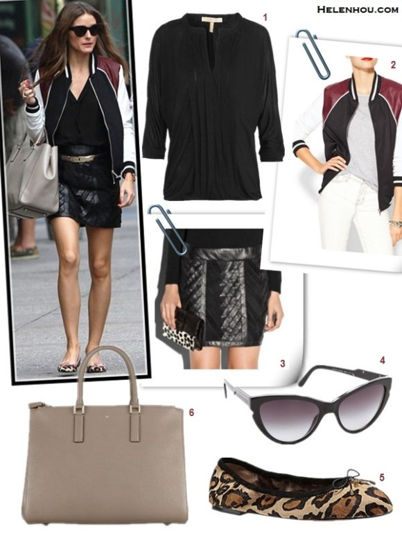 how to wear a bomber jacket, how to wear a leather skirt,  Olivia Palermo, street style, fall/winter bomber jacket, distressed jeans, white shirt, black blouse, leather skirt, leopard pump, camo heel,   On Olivia Palermo: Christian Dior cat eye sunglasses, Anya Hindmarch Ebury textured-leather tote, Hive & Honey Varsity Colorblock Jacket,milly Chevron Leather Mini Skirt, french sole leopard ballet flats,   also featured:   1. Joie MARRU TOP,  4. Elizabeth and James Lafayette Cat Eye Sunglasses,  5. Sam Edelman FELICIA leopard ballet flat,
