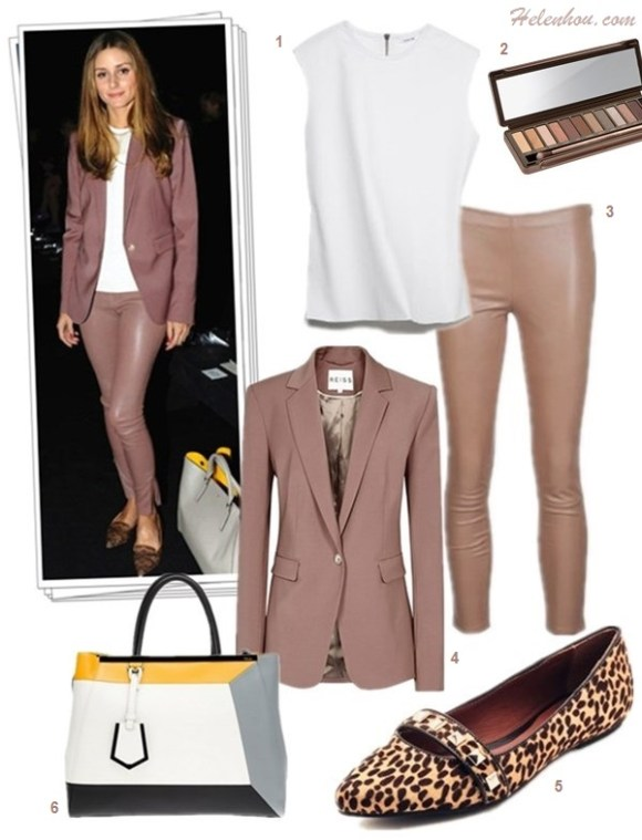 how to wear a pant suit, how to wear leather pants, how to wear colored blazers,   Olivia Palermo, paris fashion week, street style,   fall/winter,  On Olivia Palermo: Reiss Laurel Oak Tailored Jacket,AG   Adriano Goldschmied The Legging Ankle Jeans,Tibi   Colorblock Silk Camisole,Pretty Ballerinas Angelis   Ballerina flats, Zagliani Gatsby Bag,  On Olivia Palermo: Reiss Laurel Oak Tailored Jacket,THE ROW pink Stretch-Leather Leggings,Anya Hindmarch greay bag with yellow lining, pinted pointy toe loafer flat, white top,  Also featured:    Helmut LangRavel Tank Top,  Urban Decay Naked Palette,    Rebecca MinkoffIra Haircalf Flats,  Fendi '2Jours 3D - Medium' Leather Shopper,