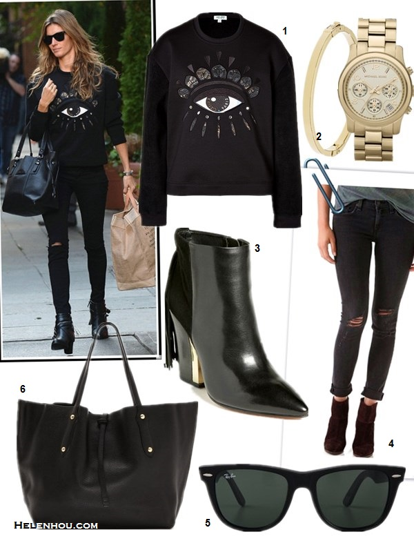 how to wear a sweatshirt, how to wear distressed denim,how to wear graphic tops, street style,fall/winter,  Gisele Bundchen,Jessica Alba,eye sweatshirt,black distressed skinny jeans, fringe booties, black tote, wolf sweatshirt, ankle booties, quilted chain bag, ray ban sunglasses,   On Gisele Bundchen: Ray-ban Light Force Wayfarer   Sunglasses,Kenzo Lotus-eye embroidered sweatshirt,black   distressed jeans, fringe buckle booties, black tote,   On Jessica Alba: Charles henry Print Front   Pullover,Current/elliott The Stiletto black distressed   Jeans,black booties, chanel bag, ray ban sunglasses, featured:  1. Kenzo otus-eye embroidered sweatshirt ,  2. MICHAEL KORS 'RUNWAY' CHRONOGRAPH WATCH, 39MM & MICHAEL KORS SKINNY STACKABLE BANGLE,  3. Sam EdelmanMARIEL HEEL FRINGE BOOTIES,  4. Rag & Bone/JEANTHE SKINNY JEANS,  5. Ray-BanOUTSIDERS OVERSIZED WAYFARER SUNGLASSES,  6. Annabel IngallLARGE ISABELLA TOTE,