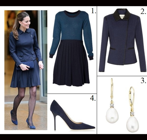 Kate Middleton style,party outfit ideas 2013, brown coat dress, brown suede booties, brown clutch,navy pleated skirt, navy jacket, navy suede pump, navy suede clutch On Kate Middleton: Annoushka Favourites Pearl Earrings,   Orla Kierly Crepe navy blue pleated skirt, Max Mara navy   jacket, Stuart Weitzman for Russell and Bromley navy muse   clutch, Alexander McQueen blue pointy toe pump,   Featured: 1. Orla KielyMOHAIR PLACEMENT DRESS,  2. ReissTULUM CONTRAST TRIM TEXTURED JACKET,  3. Macy's10K GOLD EARRINGS, CULTURED FRESHWATER PEARL AND DIAMOND ACCENT EARRINGS,  4. Jimmy Choo Anouk Suede Pumps