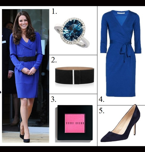 Kate Middleton style,party outfit ideas 2013, reiss cobalt blue dress coat, navy suede pump, suede belt, red coat dress, nude pump, beige clutch, leaf brooch, On Kate Middleton: Catherine Walker red coat dress, The   Queen's Canadian leaf brooch,LK Bennett cream   shoes.,Russell & Bromley clutch,  Featured: 1. Macy's14K WHITE GOLD RING, LONDON BLUE TOPAZ (4 CT. T.W.) AND DIAMOND (1/8 CT. T.W.) OVAL RINGENTER A,  2. MCQ ALEXANDER MCQUEEN Wide suede waist belt,  3. Bobbi Brown Blush Pale Pink 0.13 oz ,  4. Diane von FurstenbergJULIAN MINI WRAP DRESS,  5. Manolo BlahnikBB SUEDE 90MM PUMP, NAVY