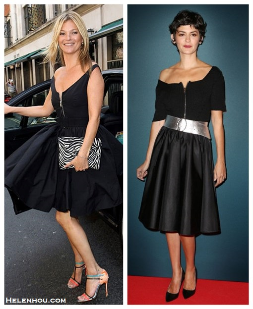 The art of accessorizing-Kate Moss, Audrey Tautou, prada zip front black dress, silver belt, black pump, color strap sandal, zebra clutch