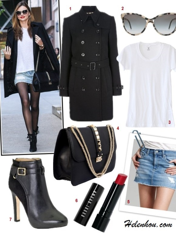The art of accessorizing-Miranda Kerr, black coat,white tee, distressed denim skirt, black booties, sunglasses,valentino bag