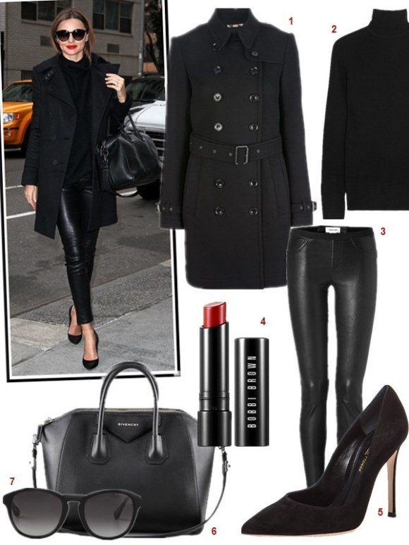 The art of accessorizing-Miranda Kerr,black coat, givenchy antigona, black pump, leather pants, black sweater,sunglasses