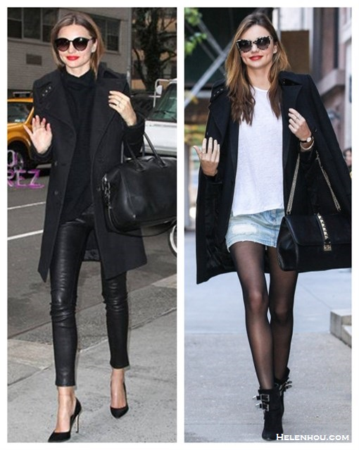 The art of accessorizing-Miranda Kerr,black coat, givenchy antigona, leather pants, distressed denim skirt, black booties,valentino
