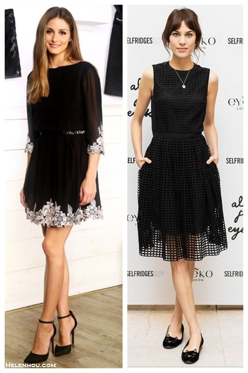 party outfit ideas 2013; How to Wear a Little Black Dress ,   On Olivia Palermo: black floral embroidered Ted Baker London Feay Dress,ankle strap pump,   On Alexa Chung: Carven's Resort 2014 collection black sleeveless grid  dress, heart-shaped pendant necklace,Charlotte Olympia 'Kitty' flats.,