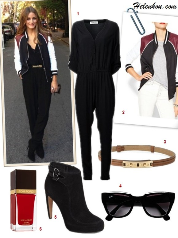 How to wear a jumpsuit, how to wear bomber/varsity jackets, fall pastel trend, 	 ,   On Rosie Huntington-Whiteley: Gerard Darel black silk jumpsuit, Giorgio Armani bag, Michael Kors strappy sandals and Miu Miu sunglasses.  On olivia palermo: Hive & Honey Varsity Colorblock Jacket,Sam and Lavi black jumpsuit , Christian Dior black ankle booties, BCBG brown gold belt,  Featured:  1. Sam & LaviSAM & LAVI JUMPSUIT - BLAIR BUTTON FRONT,  2. Hive & Honey VARSITY COLORBLOCK JACKET ,  3. BCBGMAXAZRIASKINNY TWIST-LOCK WAIST BELT,  4. Ray-Ban 52mm Retro Sunglasses Black/ Grey Gradient,  5. Sam Edelman 'Kit' Boot ,  6. Tom Ford Beauty Nail Lacquer