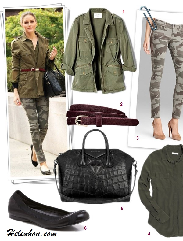 how to wear camo pants, how to wear army/military jackets, how to wear over-the-knee boots,  		   On Olivia Palermo:zara military army jacket,Givenchy 'Antigona' medium tote,True Religion Casey Camouflage-Print Skinny Pants, black ballet flat, burgundy plum skinny belt, On Olivia Palermo: zara military army jacket, tibi belt, Ted Baker boots,Rebecca Taylor floral blouse,hermes bag,ray ban wayfarer sunglasses,  Featured:  1. Velvet LILY ALDRIDGE FOR VELVET RUBY JACKET,  2. ANN TAYLOR PERFECT HAIRCALF SKINNY BELT,  3. True Religion TRUE RELIGION JEANS - CASEY CAMO,  4. Madewell Silk Cargo Shirt,  5. Givenchy 'ANTIGONA' MEDIUM TOTE,  6. Stuart Weitzman 'Giveable' Flat ,