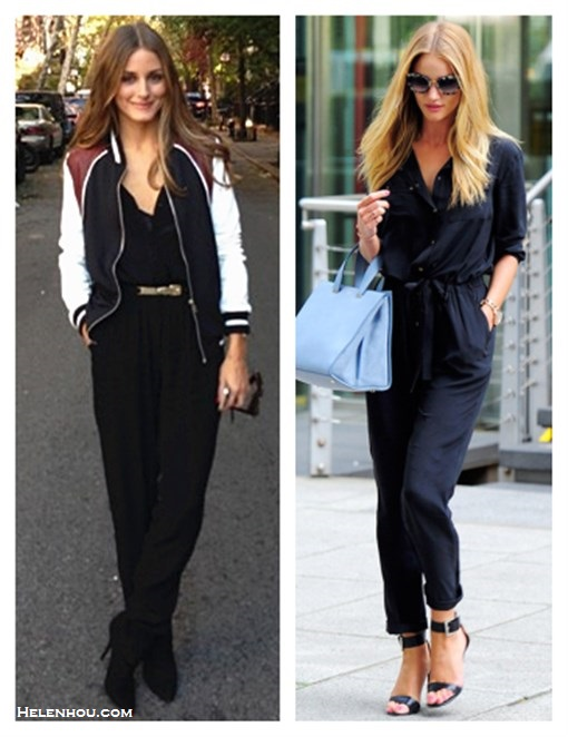 How to wear a jumpsuit, how to wear bomber/varsity jackets, fall pastel trend, 	 ,   On Rosie Huntington-Whiteley: Gerard Darel black silk jumpsuit, Giorgio Armani bag, Michael Kors strappy sandals and Miu Miu sunglasses.  On olivia palermo: Hive & Honey Varsity Colorblock Jacket,Sam and Lavi black jumpsuit , Christian Dior black ankle booties, BCBG brown gold belt,