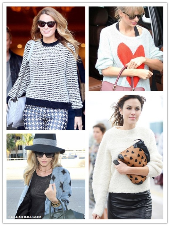 how to style chunky sweaters,    celebrity street style, model off duty style, fall/winter,   On Blake Lively, Isabel Marant Étoile Canelia stripe sweater,Isabel Marant Étoile 'Iti' hounds tooth trousers,Christian Louboutin Gine Patent Leather Bow Slipper, Black,  On Taylor Swift: Wildfox HEART print sweater, black leggings, burgundy TOD'S 'SELLA' TOTE,   On Alexa Chung at fashion week:white jumper/sweater, black leather pencil skirt, mulberry The Little Crush in Heart Print Calfskin and Leather,   On Rosie Huntington-Whiteley:Jennifer Fisher choker gold necklace, Chanel cat eye sunglasses, Rag & Bone fedora hat, Balenciaga Voyage 24H black bag, Givenchy 'Antigona' medium tote, Saint Laurent star print cardigan,