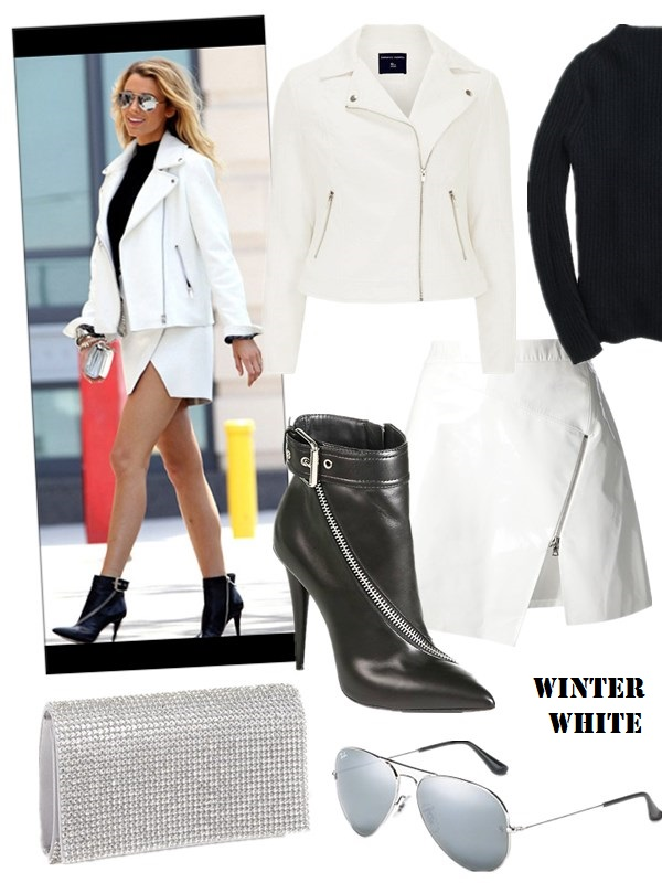 how to wear white in winter, What to wear with a tweed   jacket, Street style, party outfit, fall/winter,   Blake Lively, Miranda Kerr, white jacket, tweed jacket,   white skirt, ankle booties, loafer, distressed jeans,   Valentino 'Grande Lock', turtleneck sweater,  On Blake Lively for Lucky magazine 2013: Giuseppe Zanotti   Fall 2013 Zip Ankle Boots,Flap bag by Giuseppe Zanotti,   white Split Skirt, white biker jacket, 	black turtleneck   sweater, mirrored aviator sunglasses,  Featured: Jacket: Dorothy Perkins White jacquard biker, Sweater: J.CrewCOLLECTION CASHMERE RIBBED BACK-ZIP SWEATER, Skirt: Markus Lupfer Brocade Zip Skirt in Blue, Shoes: Asymmetrical-Zip Leather Ankle Boots by: Giuseppe Zanotti, Bag:  Tasha ORDSTROMRHINESTONE CLUTCH, Sunglasses: Ray-Ban AVIATOR SUNGLASSES WITH MIRRORED LENSES,