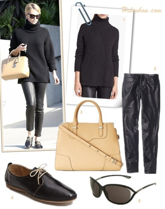 how to style black sweater, how to wear menswear shoes oxford, how to wear leather pants,   street style, fall/winter,  Olivia Palemro, Charlize Theron, black turtleneck sweater, printed pants, oxford, menswear, leather pants, beige tote, cat eye sunglasses,   On Charlize Theron: black Turtleneck Boyfriend Sweater by Monika Chiang, beige leather top handle tote bag, leather pants, lace up menswear oxford, cat eye sunglasses,    Featured:1. 'Vince TRAVELLING' RIBBED TURTLENECK SWEATER,  2. Blank DenimSPRAY ON SUPER COATED JEANS,  3. Rebecca MinkoffREBECCA MINKOFF - AMOROUS SATCHEL,  4. Miz Mooz Oxford Flat,  5. Tom Ford 'Jennifer' 61mm Oval Frame Sunglasses