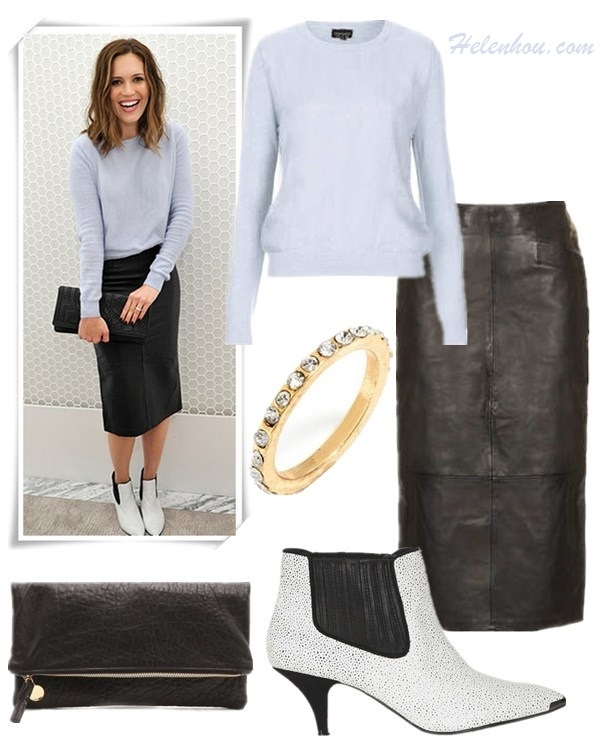 how to wear fall pastels, how to wear baby blue, how to wear leather skirt,  On Mandy Moore at  Topshop Holiday Celebration: pink blue, lilac sweater, Topshop LEATHER CALF PENCIL SKIRT ,Topshop ALBERTINA KITTEN HEEL BOOTS,Graziela Gems earrings,black embellished black clutch;  On Chelsea Leyland At a post-show dinner for Diane von Furstenberg: Topshop jacket; Wes Gordon top; Orla Kiely shorts; Olympia Le-Tan clutch; SUNO x Nicholas Kirkwood shoes.  Featured;  Topshop KNITTED ORGANZA PANEL JUMPER, Topshop LEATHER CALF PENCIL SKIRT, Topshop ALBERTINA KITTEN HEEL BOOTS, Clare Vivier FOLD OVER CLUTCH, Bauble bar mixed midi rings,
