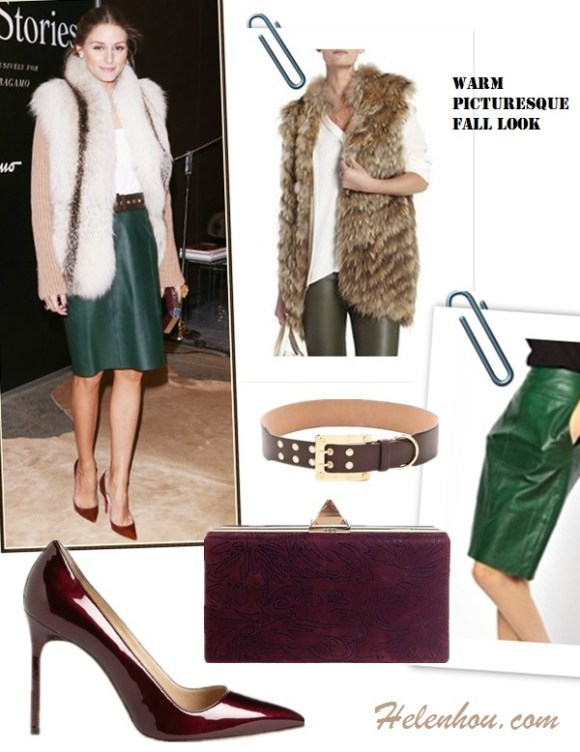 how to wear fur cardigan or vest, how to wear leather skirt/leather pants,   On Olivia Palermo: Christian Louboutins red burgundy pump, green leather skirt,  fur cardigan, brown eyelet belt, metallic faceted clutch, street style, fall/winter, party outfit,   Featured:  Fur vest: BCBGMAXAZRIAFUR VEST,  Leather skirt: URBAN CODE | URBAN CODE LEATHER PENCIL SKIRT AT ASOS,  Belt: Rachel ZoeRACHEL ZOE - LAMB BELT WITH SCREW BUCKLE,  Bag: A.B.S. BY ALLEN SCHWARTZ PYRAMID MINAUDIERE EVENING BAG,  Shoes: Manolo Blahnik 'BB' Pointy Toe Pump