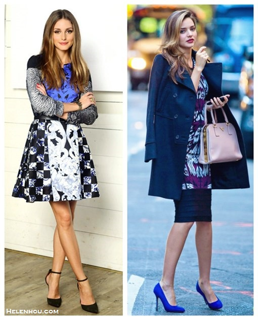 what to wear to a party, party outfit ideas 2013,how to wear a printed dress,   party outfit, fall/winter,  Olivia Palermo, Miranda Kerr, printed dress, Python blouse, ankle strap pump, double breast coat, blue pump, Prada Saffiano, pink top-handle bag,  On Olivia Palermo: Rebecca Taylor Python Blouse with Solid Blocking,Tibi Rococo Check Sleeveless Dress, ankle strap pump,   On Miranda Kerr: Prada Pyramid Frame Bag,Givenchy double breast coat, Manolo Blahnik bb suede pump, Herve Leger By Max Azria printed dress,