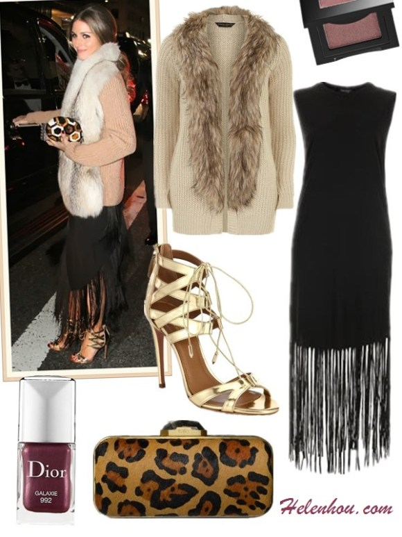 how to wear a fur vest/cardigan, how to wear a fringe dress/skirt,slipper loafer styles, street style, party outfit, fall/winter, Olivia Palermo, fur cardigan, skinny jeans, velvet loafer slipper, red satchel, sunglasses, fringe dress, round clutch, gold sandal,  On Olivia Palermo: Christian Dior cat eye   sunglasses,Louis Vuitton red bag, Salvatore Ferragamo   SCOTTY VELVET SLIPPER-STYLE LOAFERS, Amy Sia Designs   printed scarf, skinny jeans, fur vest, fur cardigan,  On Olivia Palermo: fur cardigan,  fringed dress by Willow,vintage jewelry,Aquazzura gold strappy heels,Rafe round clutch,   featured:   Dorothy Perkins Oat faux fur collar cardigan,  TOPSHOPTASSLE JERSEY MIDI DRESS,  Beverly Hills Strappy Sandals by: Aquazzura ,  RafeDEMI LEOPARD-PRINT CALF FUR BOX CLUTCH,  DIOR DIOR VERNIS NAIL LACQUER in 'Galaxie'; Bobbi Brown Metallic Eye Shadow in Cognac,