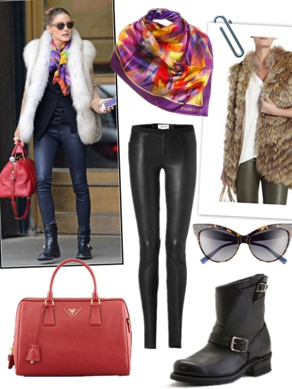 how to wear fur cardigan or vest, how to wear leather skirt/leather pants,  street style, fall/winter, party outfit,  On Olivia Palermo: fur cardigan, black cardigan, leather pants, black buckle boots, red louis vuitton bag, cat eye sunglasses, printed scarf,  Featured:  Scarf: carnet de modeSCARF - LUXURY SILK - PURPLE,  Fur vest: BCBGMAXAZRIAFUR VEST,  Leather pants: Helmut Lang leather pants,  Sunglasses: Dior 'MOHOTANI' 58MM CAT'S EYE SUNGLASSES,  Boots: Frye ENGINEER 8R BOOTS,  Bag: PradaSAFFIANO BOWLER BAG