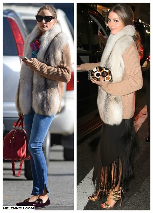 how to wear a fur vest/cardigan, how to wear a fringe dress/skirt,slipper loafer styles, street style, party outfit, fall/winter, Olivia Palermo, fur cardigan, skinny jeans, velvet loafer slipper, red satchel, sunglasses, fringe dress, round clutch, gold sandal,  On Olivia Palermo: Christian Dior cat eye   sunglasses,Louis Vuitton red bag, Salvatore Ferragamo   SCOTTY VELVET SLIPPER-STYLE LOAFERS, Amy Sia Designs   printed scarf, skinny jeans, fur vest, fur cardigan,  On Olivia Palermo: fur cardigan,  fringed dress by Willow,vintage jewelry,Aquazzura gold strappy heels,Rafe round clutch,
