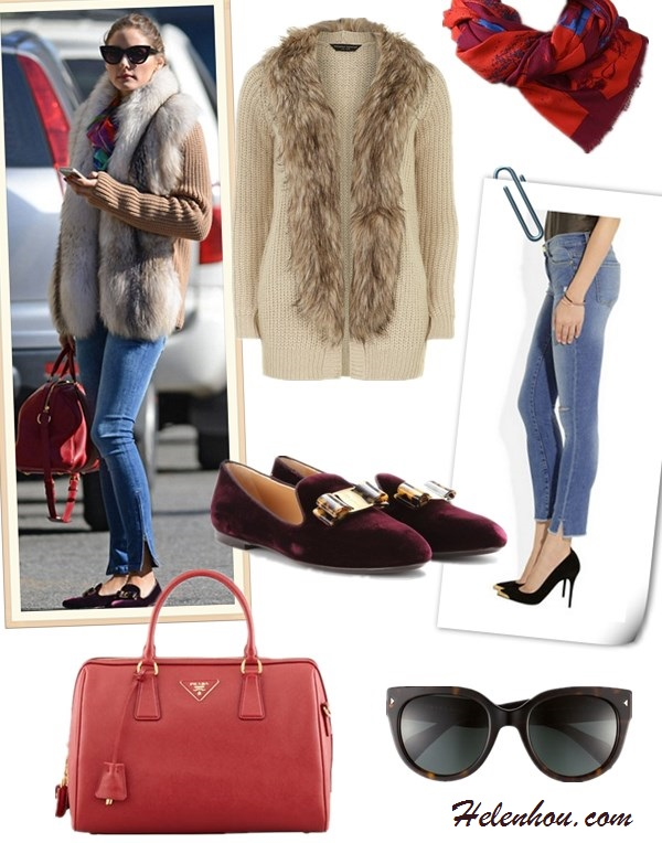 how to wear a fur vest/cardigan, how to wear a fringe dress/skirt,slipper loafer styles, street style, party outfit, fall/winter, Olivia Palermo, fur cardigan, skinny jeans, velvet loafer slipper, red satchel, sunglasses, fringe dress, round clutch, gold sandal,  On Olivia Palermo: Christian Dior cat eye   sunglasses,Louis Vuitton red bag, Salvatore Ferragamo   SCOTTY VELVET SLIPPER-STYLE LOAFERS, Amy Sia Designs   printed scarf, skinny jeans, fur vest, fur cardigan,  On Olivia Palermo: fur cardigan,  fringed dress by Willow,vintage jewelry,Aquazzura gold strappy heels,Rafe round clutch,   featured:   Dorothy Perkins Oat faux fur collar cardigan,  FRAME DENIM|FRAME LE SKINNY DE JEANNE CROP SPLIT IN FAIRFAX,  'SCOTTY' SMOKING SLIPPER LOAFER,  Prada SAFFIANO BOWLER BAG,  Prada 54MM CAT'S EYE SUNGLASSES,  Vivienne WestwoodVIVIENNE WESTWOOD ,