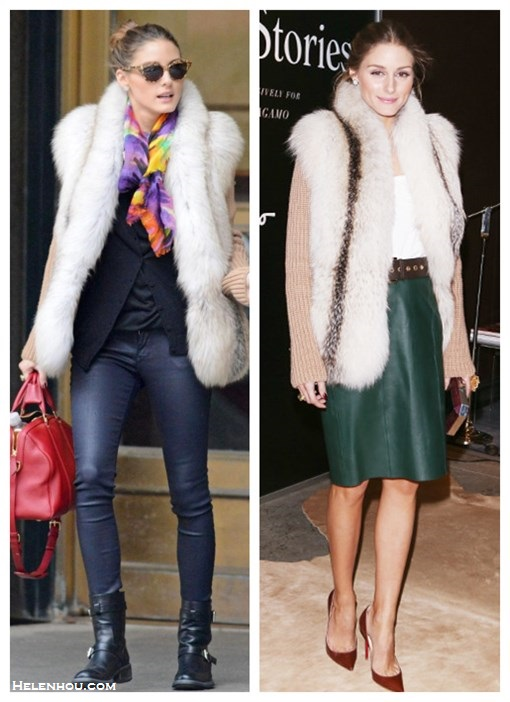 how to wear fur cardigan or vest, how to wear leather skirt/leather pants,  street style, fall/winter, party outfit,  On Olivia Palermo: fur cardigan, black cardigan, leather pants, black buckle boots, red louis vuitton bag, cat eye sunglasses, printed scarf,  On Olivia Palermo: Christian Louboutins red burgundy pump, green leather skirt,  fur cardigan, brown eyelet belt, metallic faceted clutch,