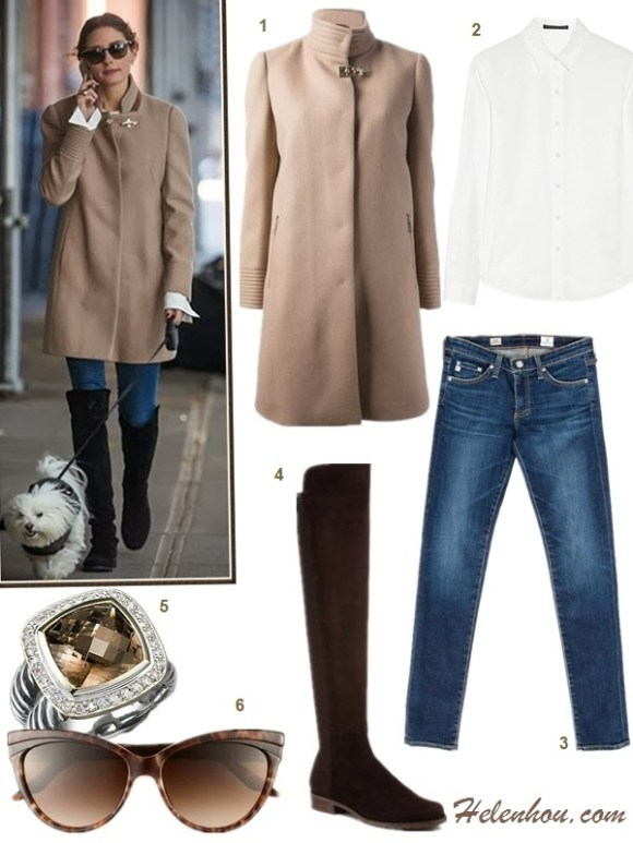 The art of accessorizing-helenhou.com-Olivia Palermo,Fay funnel neck coat, ag skinny jeans, Stuart Weitzman boots,white shirt