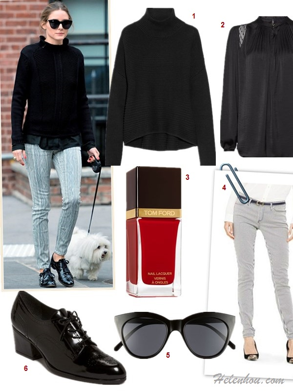 how to style black sweater, how to wear menswear shoes oxford, how to wear leather pants,   street style, fall/winter,  Olivia Palemro, Charlize Theron, black turtleneck sweater, printed pants, oxford, menswear, leather pants, beige tote, cat eye sunglasses,   On Olivia Palermo: Le Specs black cat eye sunglasses, black turtleneck sweater, black blouse, stripe printed pants, black menswear oxford, ring,     Featured: 1. Helmut Lang cOTTON AND CASHMERE-BLEND TURTLENECK SWEATER, 2. Mango MANGOPLUMETI PANELS BLOUSE BLOUSON ,   3. Tom Ford Beauty Nail Lacquer in Carnal Red,  4. Club Monaco CAROLINA SKINNY STRIPED PANT,  5. Le SpecsLE SPECS - HALFMOON MAGIC ,  6. Stuart Weitzman 'Suitable' Oxford
