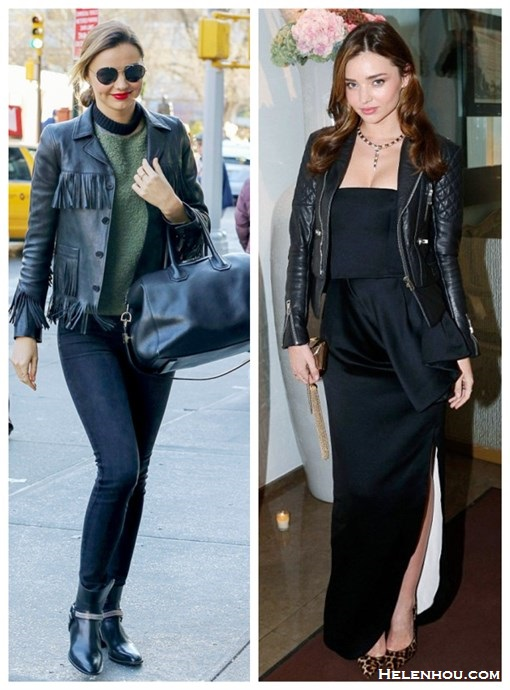 How to wear leather jacket, how to wear fringe, street style, party outfit ideas, fall/winter,  Miranda Kerr, fringed leather jacket, skinny jeans, Givenchy Antigona , ankle boots, sunglasses, dior dress, leopard pump   On Miranda Kerr: Saint Laurent Black Fringed Leather Jacket, Rock Leather Ankle Boots, Frame Denim Skinny Jeans, Givenchy Antigona Duffle On Miranda Kerr:BALENCIAGA quilted leather biker jacket, Christian Louboutin Iriza Leopard-Print Pony Hair Pumps, Bulgari jewlery,  Christian Dior dress,