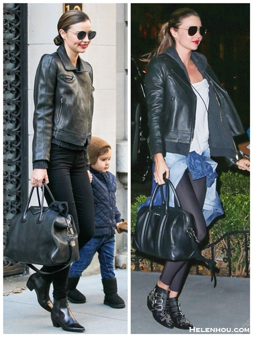 how to wear all black, how to wear leather jacket, workout outfits,  Miranda Kerr, street style, fall/winter,  leather jacket, ankle boots, studded boots, denim shirt, Givenchy Antigona bag, Givenchy Lucrezia, Frame Denim, skinny jeans, sunglasses, saint laurent,  On Miranda Kerr:Givenchy Antigona Satchel Bag, Frame Denim Le Luxe Noir stretch-satin twill skinny jeans,SAINT LAURENT  ankle boots, aviator sunglasses, On Miranda Kerr:Givenchy Lucrezia Satchel Bag,CHLOÉ Susanna studded leather ankle boots,Oliver Peoples aviator sunglasses,  MCS bracelet,