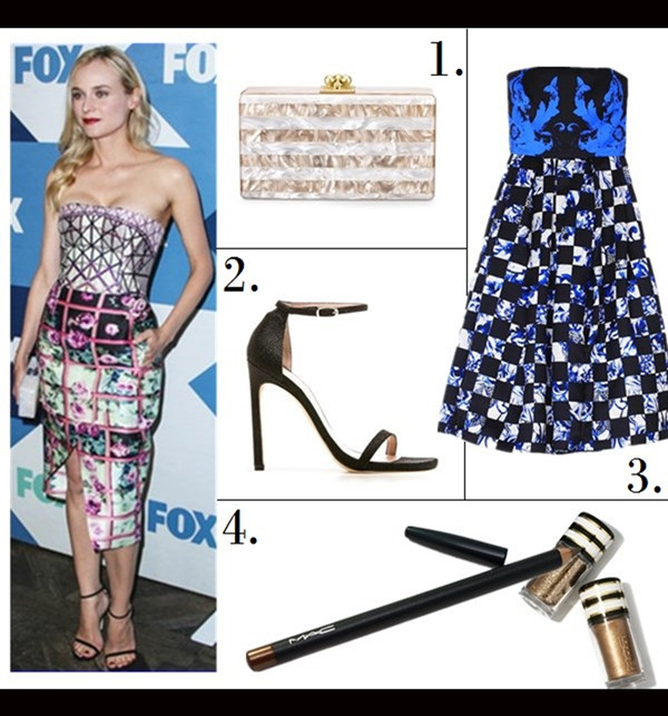 The Art of Accessorising-Helenhou.com-Party outfit idea-Diane Kruger, Mary Katrantzou printed dress, Edie Parker clutch, Stuart Weitzman heel