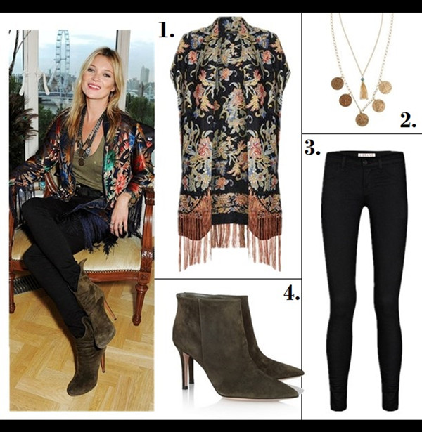 The art of accessorizing-helenhou.com-Kate Moss,180 Years Of Cool' Photocall party, fringe kimono, topshop, skinny jeans, Alaïa wing-tipped booties,coin necklace