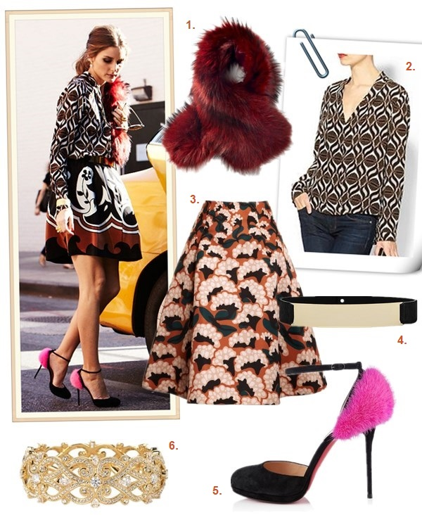 how to mix prints, how to wear patterns, party outfits idea,  Olivia Palermo, fall/winter, yellow printed blouse, black and white printed skorts/skirt, studded bag, vest blazer,  Camouflage pointy toe pump, diamond printed blouse, black and white and brown printed skirt, pink fur pump, red burgundy fur scarf/stole,  On Olivia Palerm 7 days/7 looks for vogue.es: Wunderkind sunglasses, Christian Louboutin Crazy pink Fur ankle strap pump, Charlotte Simone red fur stole/scarf, Carrera y Carrera gold bracelet, Tracey Reese pinted silk blouse,  Reiss gold plate belt,  Fendi purse, Tibi pirnted skirt,  featured:  1. Berry Red Fur Scarf Cuffby: Charlotte Simone (great faux fur style here)  2. Tracy Reese Surplice Silk Blouse  3. Thakoon Floral Printed Gazar Skirtby: Thakoon 4. Reiss Luna pony hair belt (similar here)  5. Christian Louboutin Crazy Fur 120mm Suede Pumps Pink Black2 (I'm going to DIY mine with this pair and some pink fur yarn)  6. 'Nadri 'Celtic Knot' Crystal Bangle